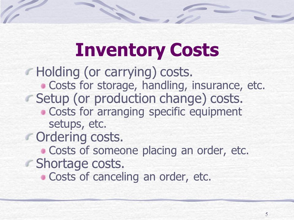 Inventory Costs Holding (or carrying) costs.