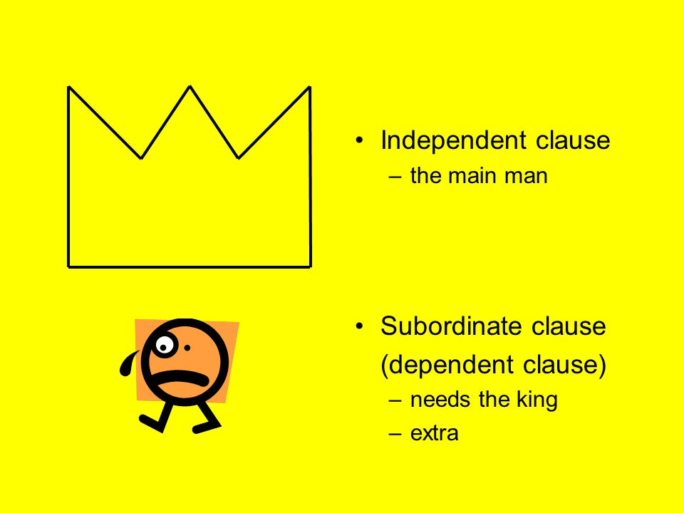 Independent clause Subordinate clause (dependent clause) the main man