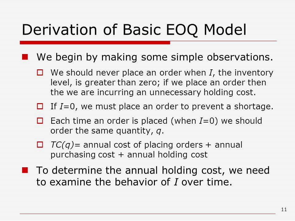 Derivation of Basic EOQ Model