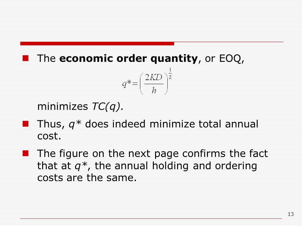 The economic order quantity, or EOQ, minimizes TC(q).