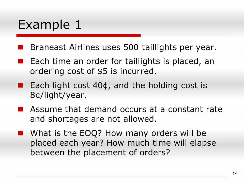 Example 1 Braneast Airlines uses 500 taillights per year.