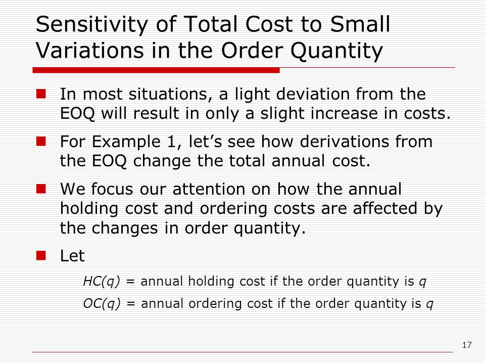 Sensitivity of Total Cost to Small Variations in the Order Quantity