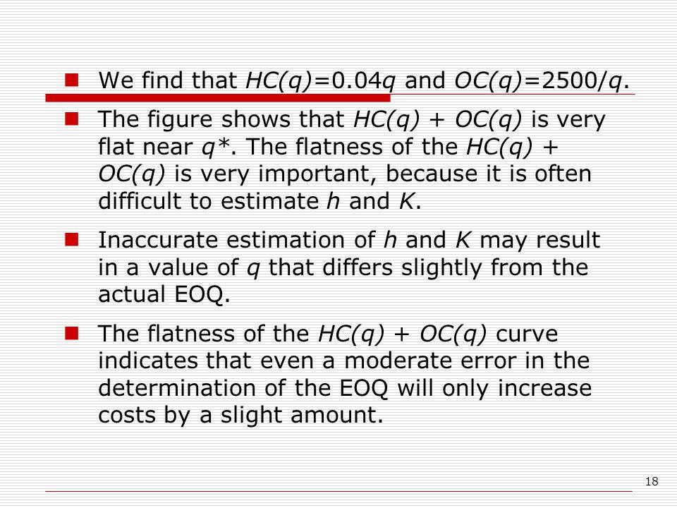 We find that HC(q)=0.04q and OC(q)=2500/q.