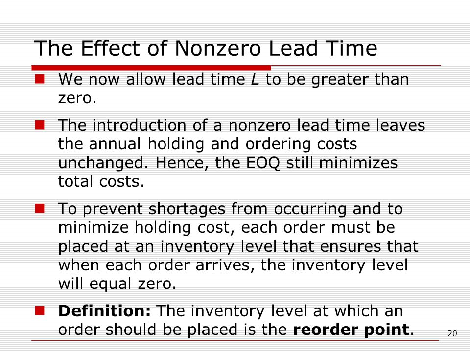 The Effect of Nonzero Lead Time