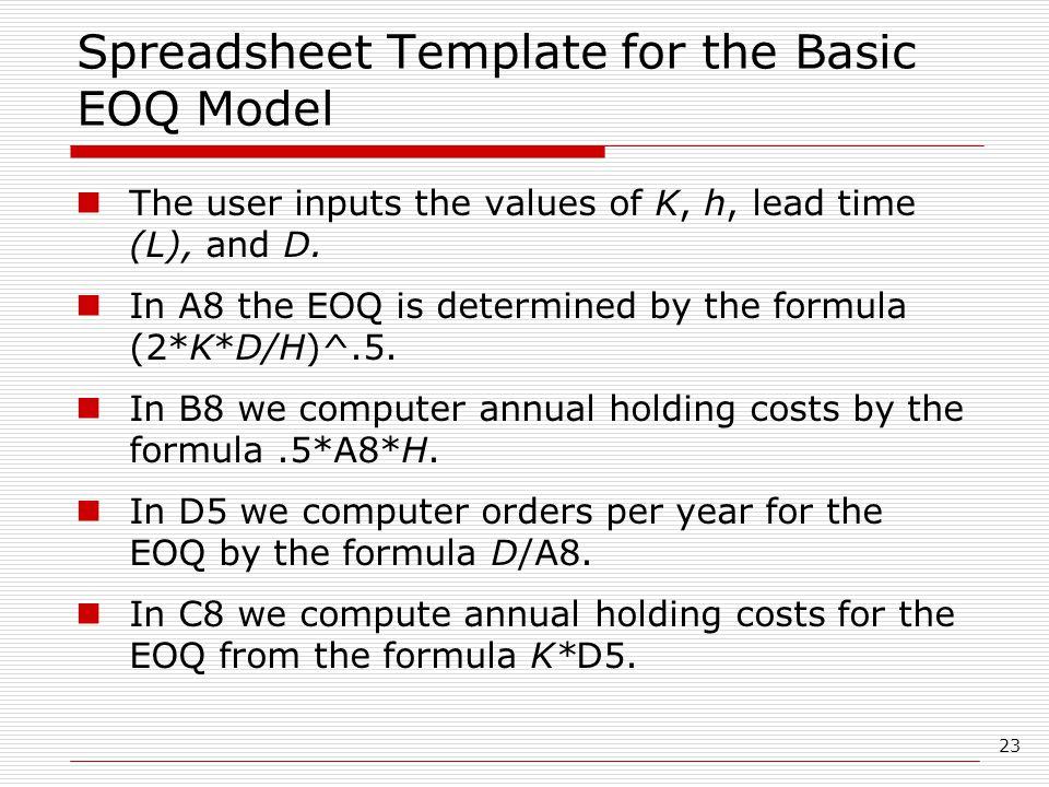 Spreadsheet Template for the Basic EOQ Model