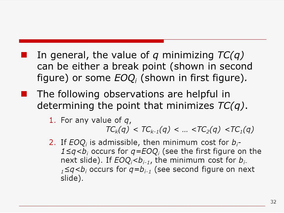 In general, the value of q minimizing TC(q) can be either a break point (shown in second figure) or some EOQi (shown in first figure).