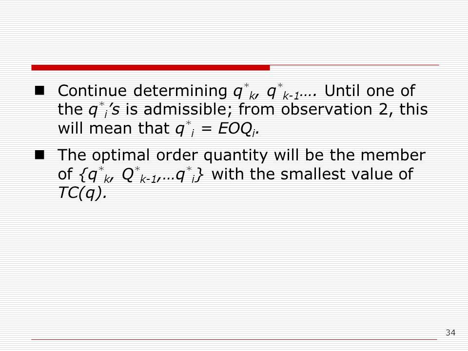 Continue determining q. k, q. k-1…. Until one of the q