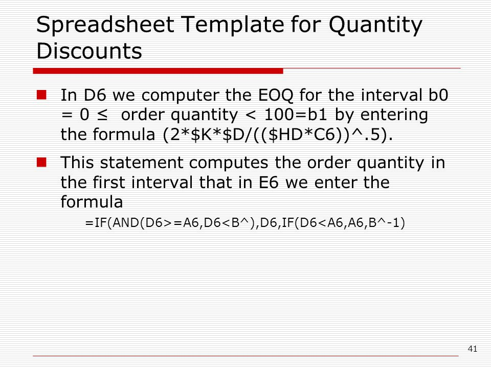 Spreadsheet Template for Quantity Discounts