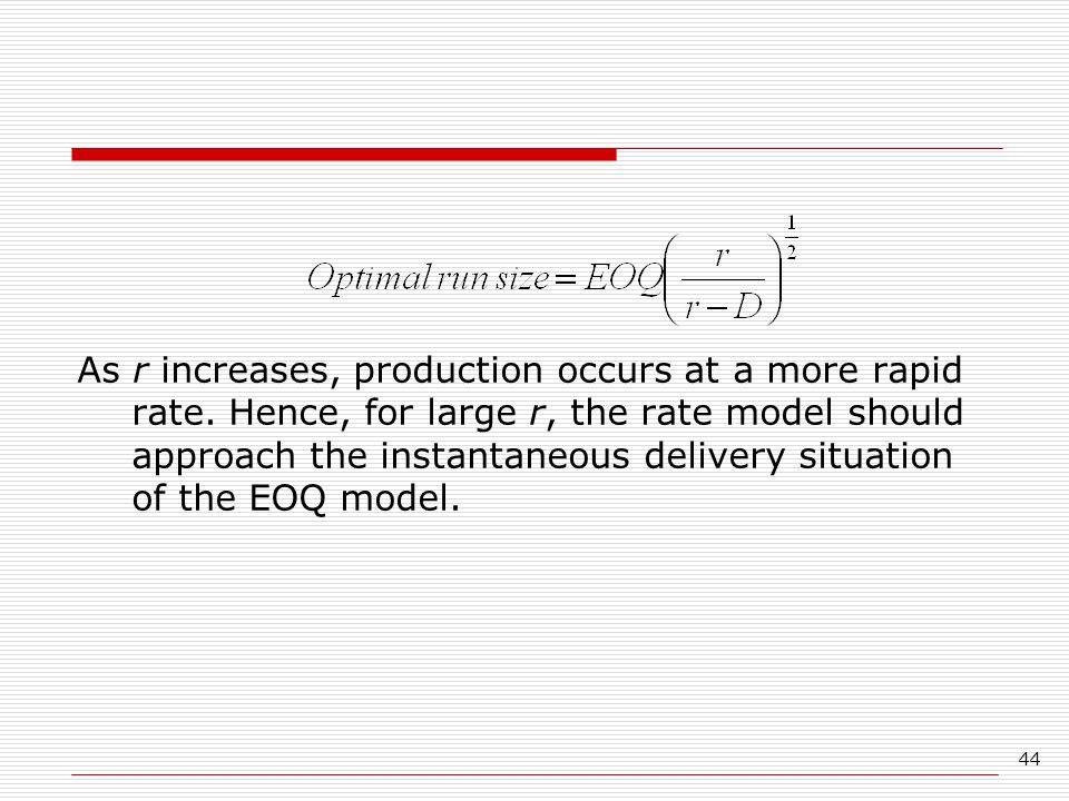 As r increases, production occurs at a more rapid rate