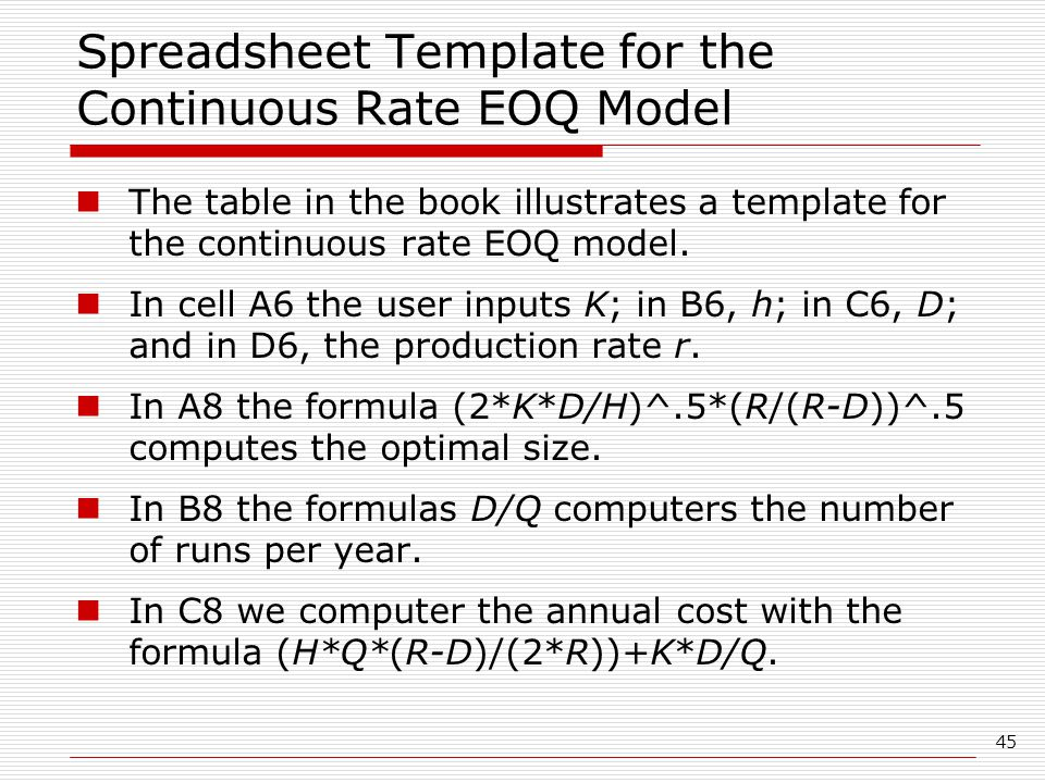 Spreadsheet Template for the Continuous Rate EOQ Model
