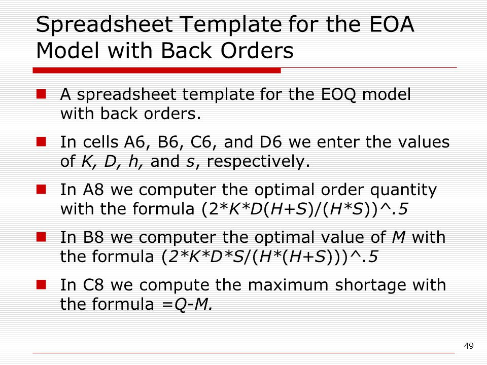 Spreadsheet Template for the EOA Model with Back Orders