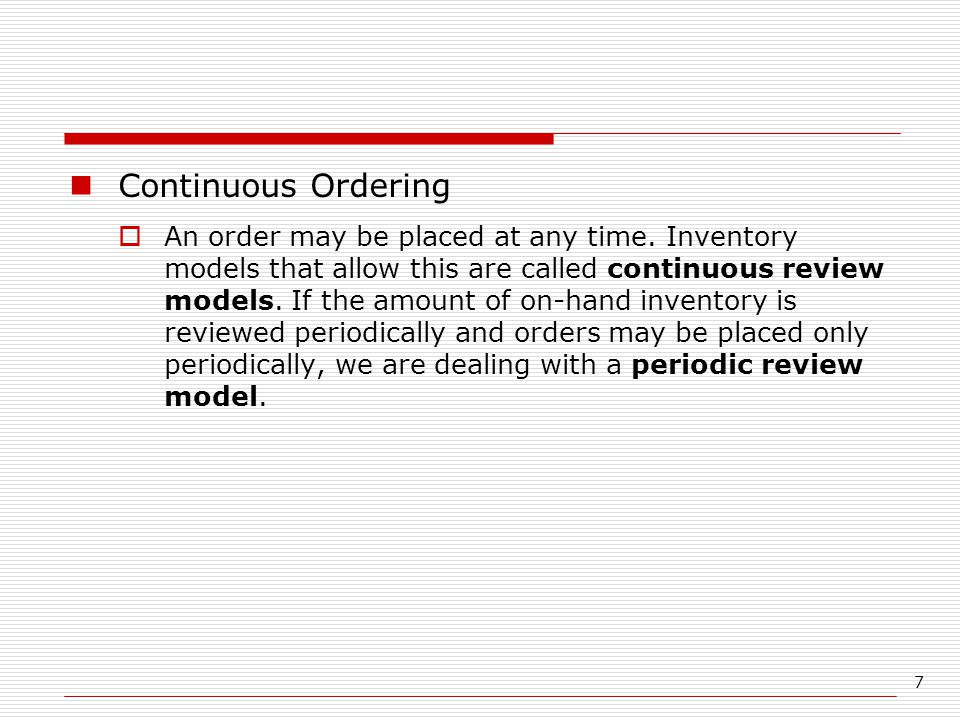 Continuous Ordering