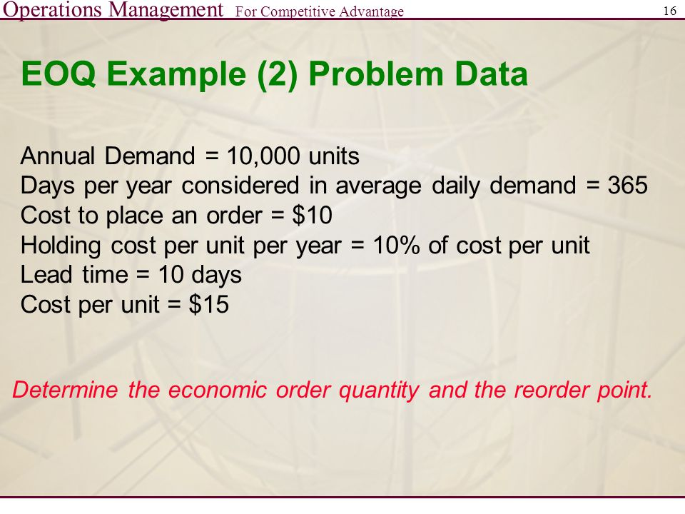 EOQ Example (2) Problem Data
