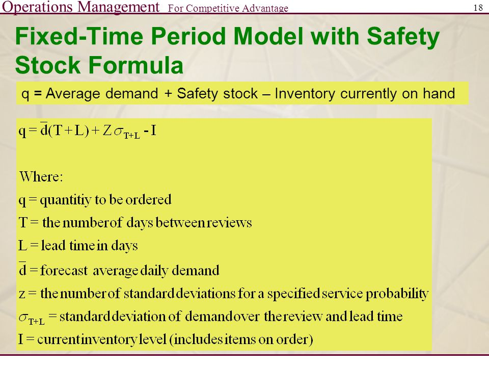 Fixed-Time Period Model with Safety Stock Formula