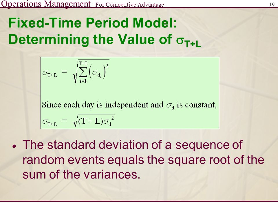 Fixed-Time Period Model: Determining the Value of sT+L
