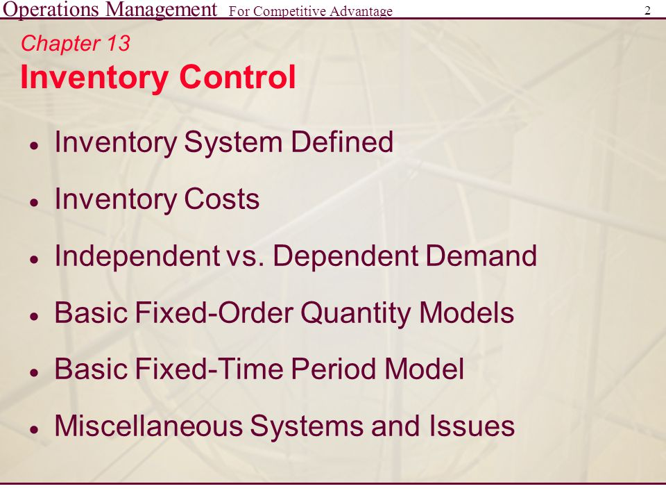 Chapter 13 Inventory Control
