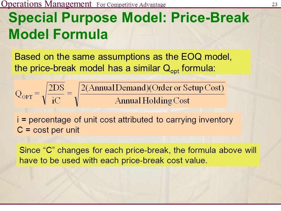 Special Purpose Model: Price-Break Model Formula