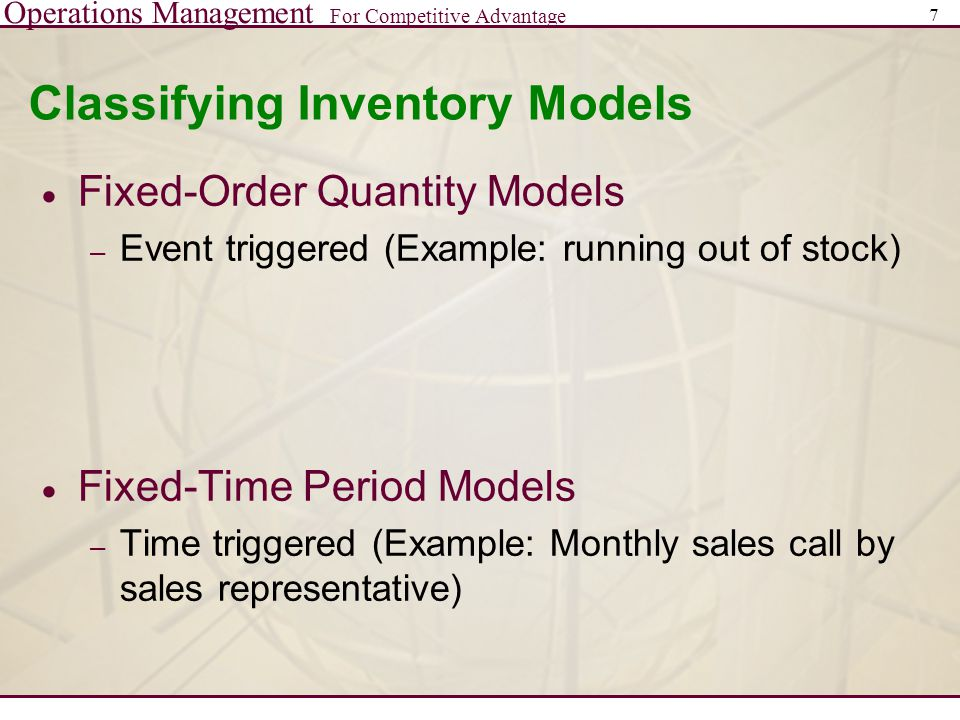 Classifying Inventory Models