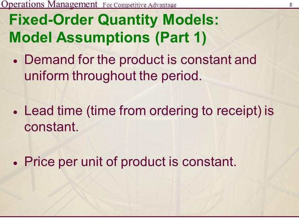 Fixed-Order Quantity Models: Model Assumptions (Part 1)