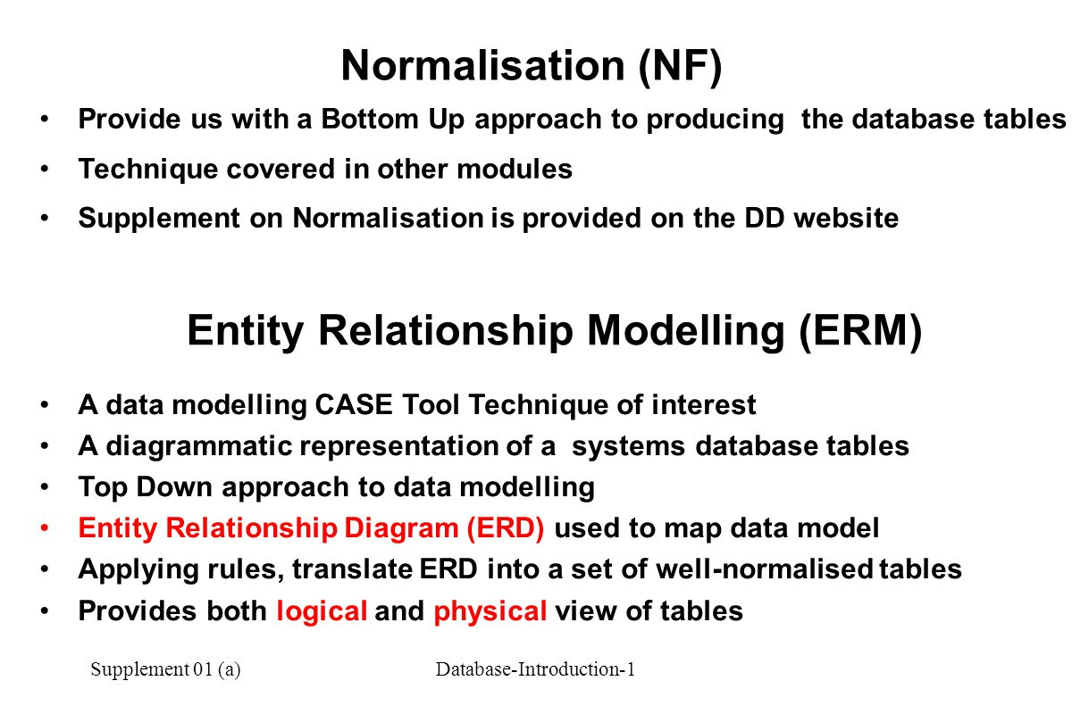 Entity Relationship Modelling (ERM)