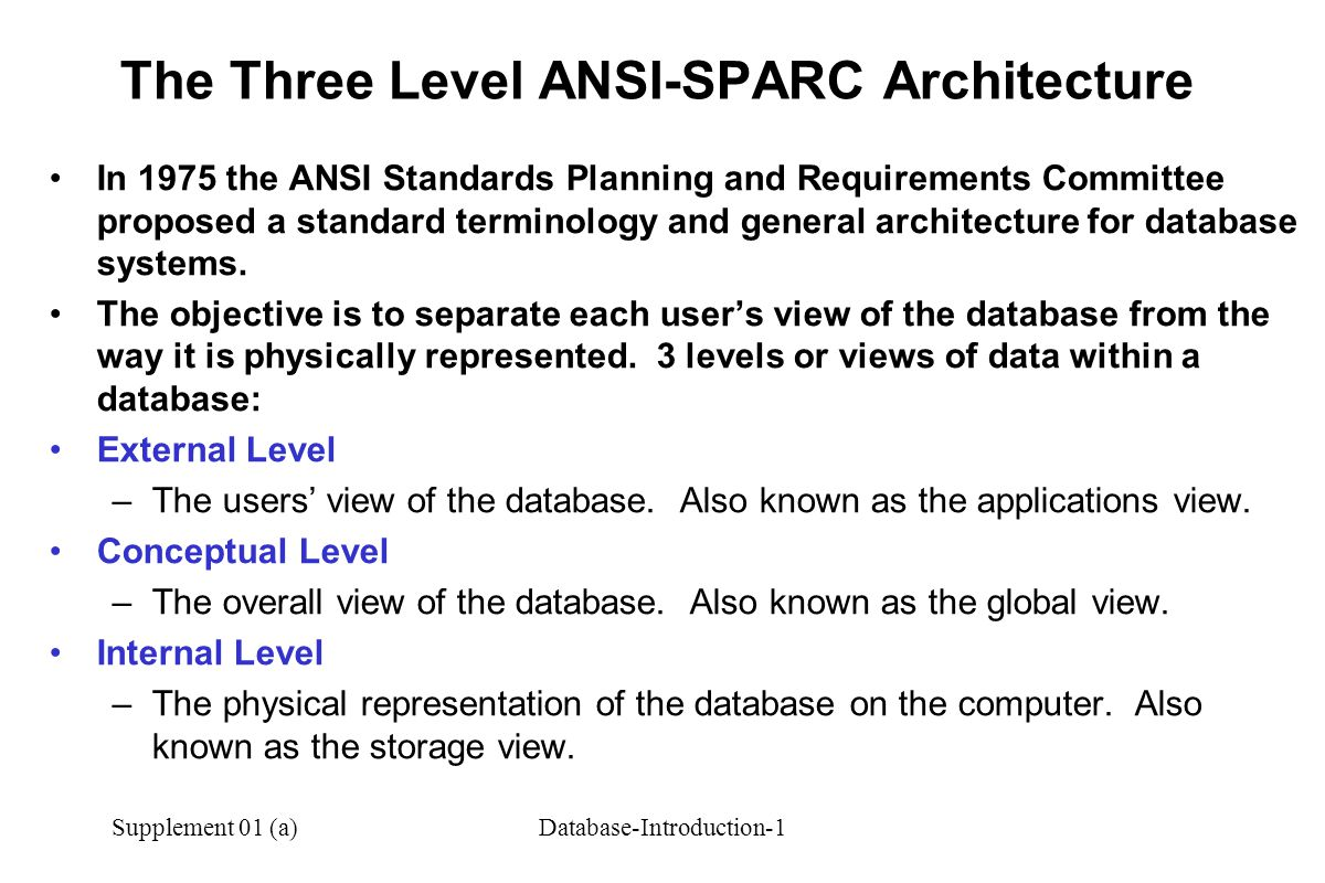 The Three Level ANSI-SPARC Architecture