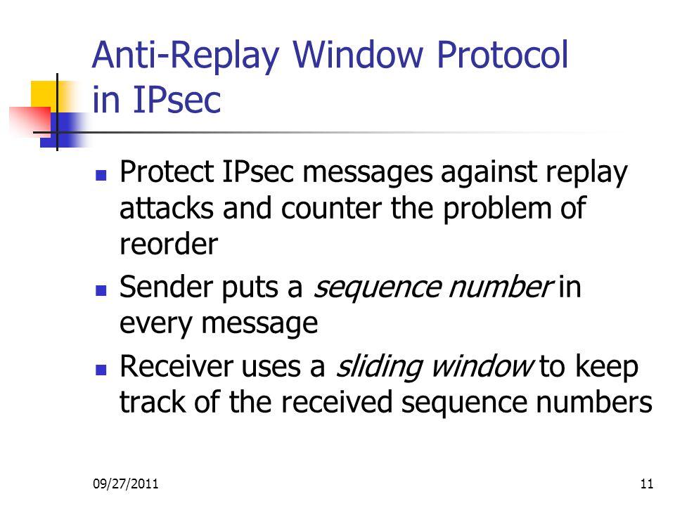 Anti-Replay Window Protocol in IPsec