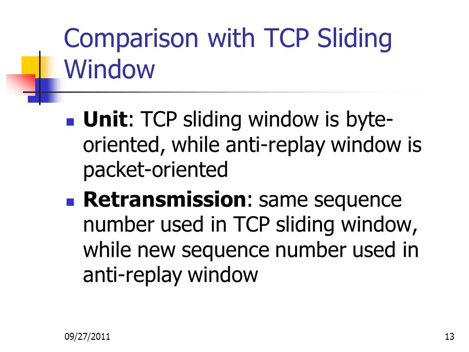 Comparison with TCP Sliding Window