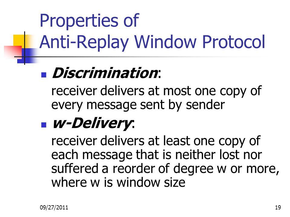 Properties of Anti-Replay Window Protocol