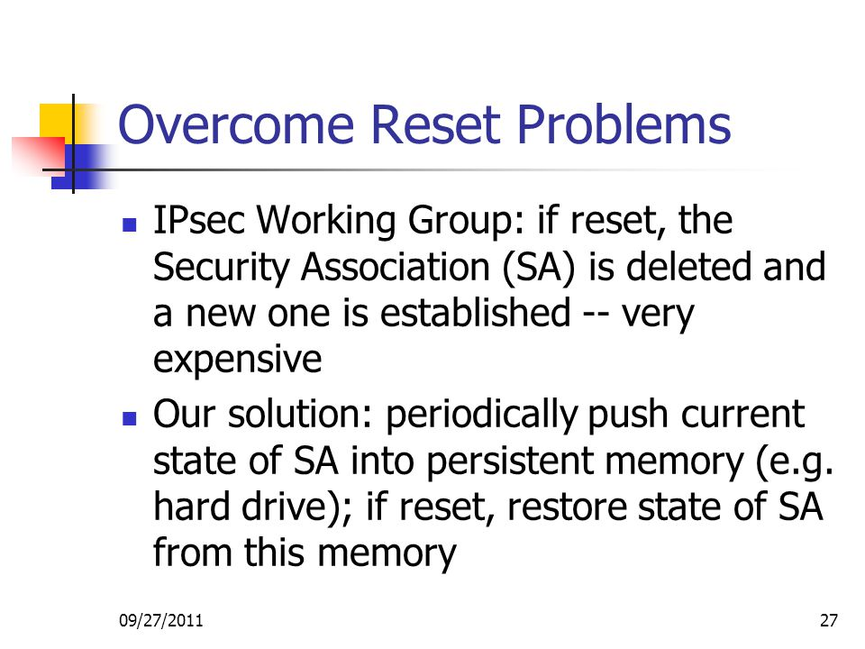 Overcome Reset Problems