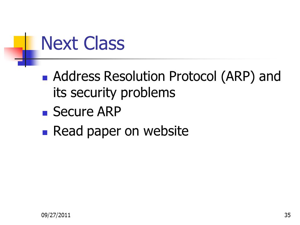Next Class Address Resolution Protocol (ARP) and its security problems