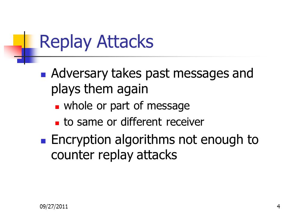 Replay Attacks Adversary takes past messages and plays them again