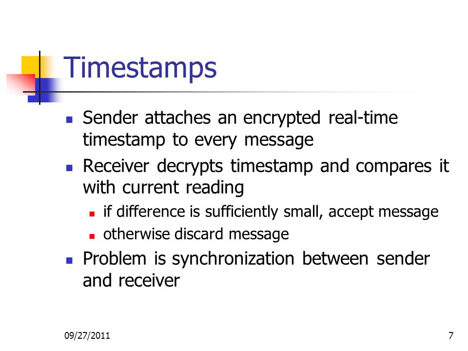 Timestamps Sender attaches an encrypted real-time timestamp to every message. Receiver decrypts timestamp and compares it with current reading.