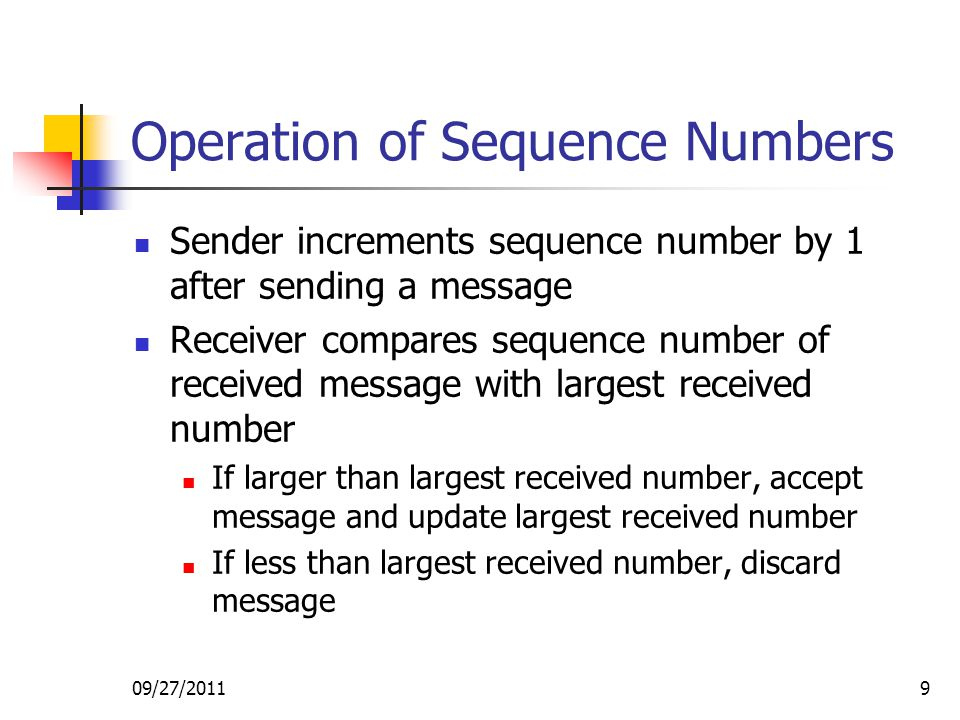 Operation of Sequence Numbers
