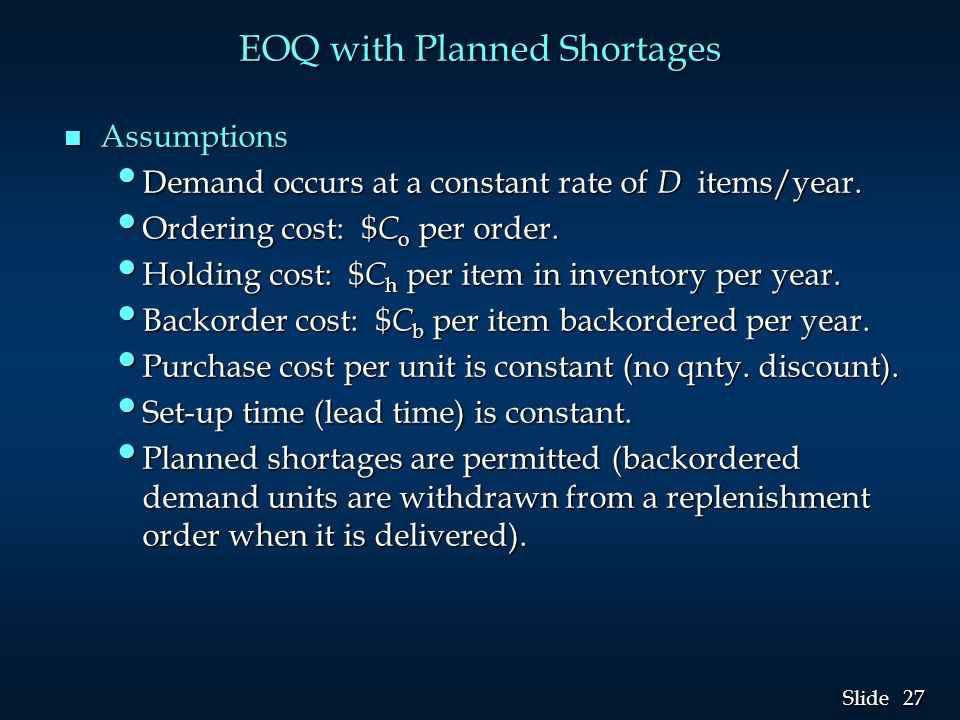 EOQ with Planned Shortages