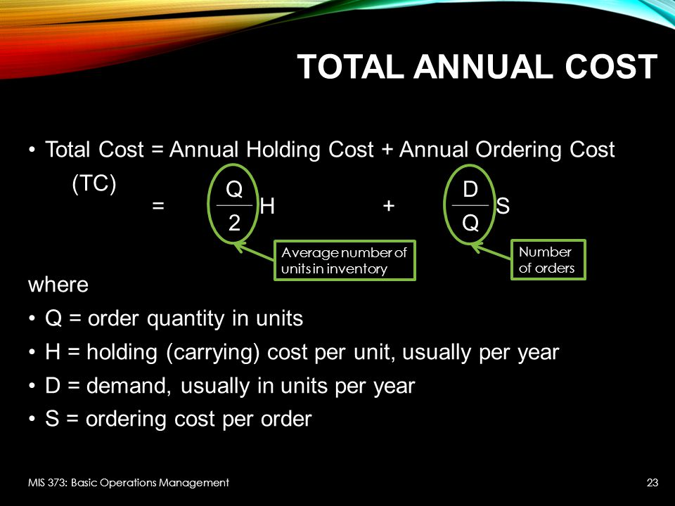 Total Annual Cost Total Cost = Annual Holding Cost + Annual Ordering Cost. (TC) where. Q = order quantity in units.