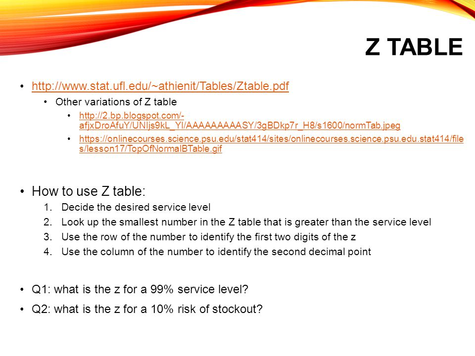Z Table How to use Z table: