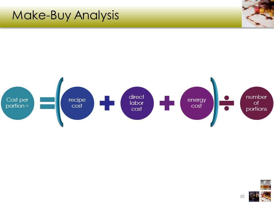 Make-Buy Analysis Cost per portion = recipe cost direct labor cost