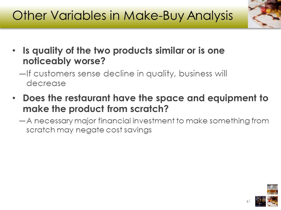 Other Variables in Make-Buy Analysis
