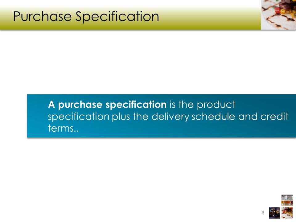 Purchase Specification