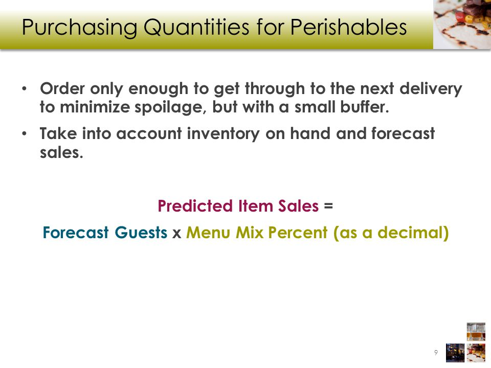 Purchasing Quantities for Perishables