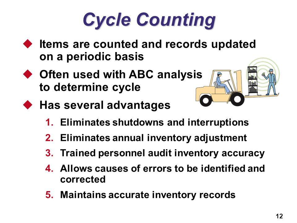 Cycle Counting Items are counted and records updated on a periodic basis. Often used with ABC analysis to determine cycle.