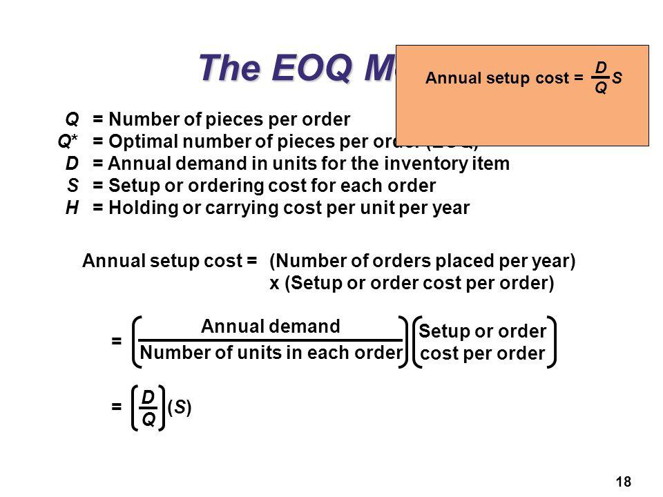 Number of units in each order Setup or order cost per order