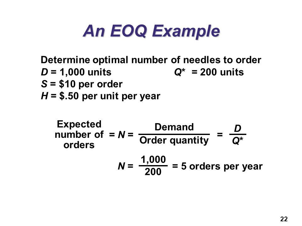 Expected number of orders
