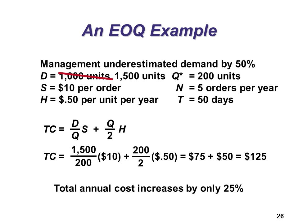 An EOQ Example Management underestimated demand by 50%