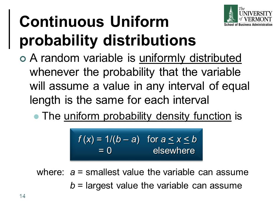 Continuous Uniform probability distributions