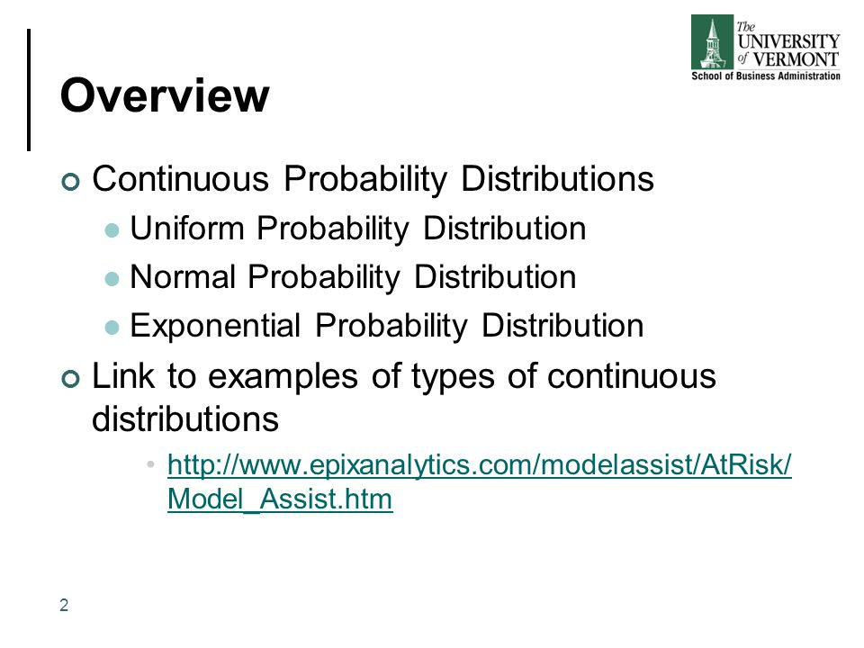 Overview Continuous Probability Distributions