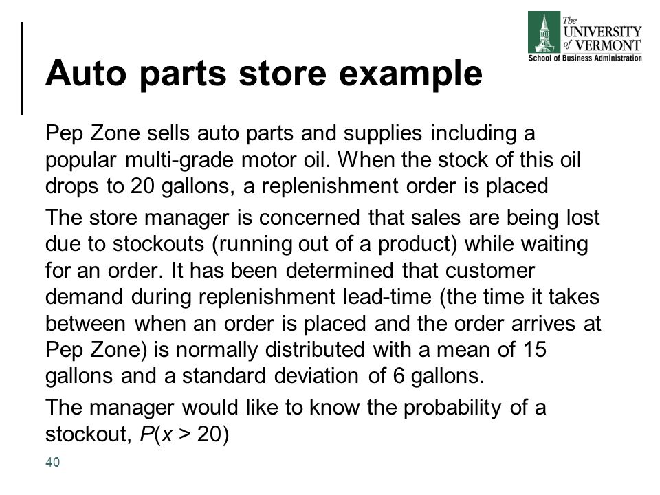 Auto parts store example