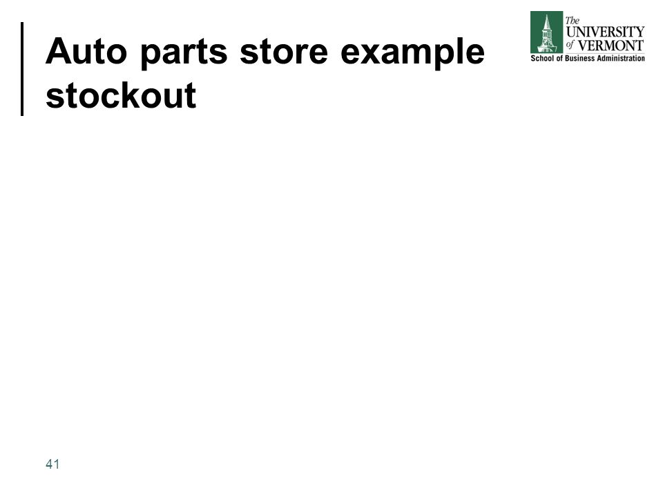 Auto parts store example stockout