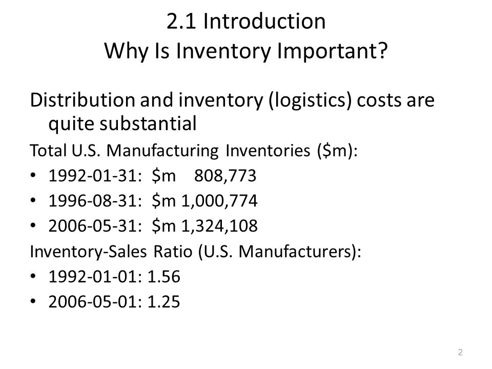 2.1 Introduction Why Is Inventory Important