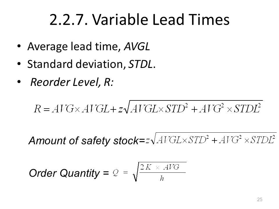 2.2.7. Variable Lead Times Average lead time, AVGL